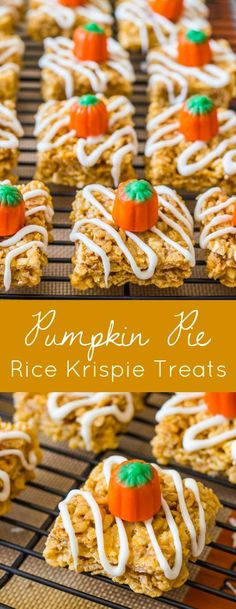 Pumpkin Pie Rice Krispie Treats made with real pumpkin and all your favorite Fall spices! Grab the recipe on sallysbakingaddiction.com