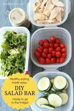 This DIY Salad Bar- a healthy dinner ready to go in the fridge - is perfect for those busy school nights Great Salad Recipes, Veggie Recipes Healthy, Slaw Recipes, Potluck Recipes, Healthy Foods, Diet Recipes, Healthy Lunches, Healthy Dinners, Yummy Recipes