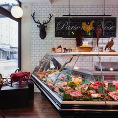 Our Kensington shop looking the part just a few more weeks until it is dressed up with Christmas decorations. by parsonsnosebutchers Meat Restaurant, Restaurant Design, Meat Cooking Chart, Carnicerias Ideas, Shop Ideas, Meat For A Crowd, Deli Shop, Meat Store, Meat Markets