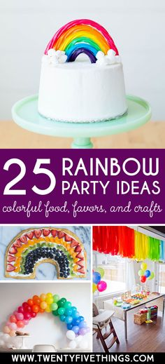 rainbow party ideas, awesome resource for DIY Rainbow party invitations, food, activities, favors, and decorations