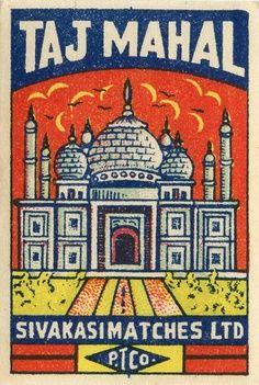 vintage matchbox label, Taj Mahal