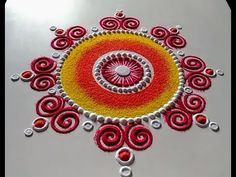 Easy, beautiful and unique rangoli design for festival Rangoli Designs Simple Diwali, Rangoli Simple, Indian Rangoli Designs, Best Rangoli Design, Rangoli Designs Latest, Rangoli Designs Flower, Free Hand Rangoli Design, Rangoli Border Designs, Small Rangoli Design