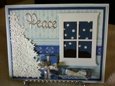 Snowflake tree on a peaceful starry night.  SueBee Cards,  Susan Bagley