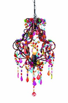 this hanging lamp is fun funky and colorful comes with a 12 - Plug In Hanging Chandelier