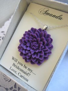 Thank you bridesmaids, wedding party gifts, Chrysanthemum flower necklace. FREE personalized notecard. Other colours available.