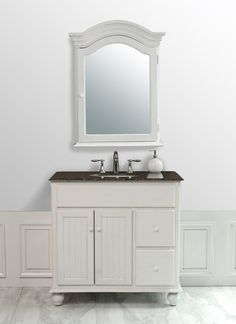 Stufurhome 36 inch Snow White Single Sink Vanity with Baltic Brown Granite Top and Mirror