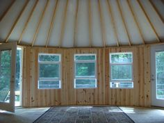 Laurel Nest Yurts - looks like they can do wood interiors too (and glass windows) Yurt Living, Tiny Living, Building A Yurt, Building A House, Yurt Pictures, What Is A Yurt, Yurt Kits, Yurt Interior, Yurt Home