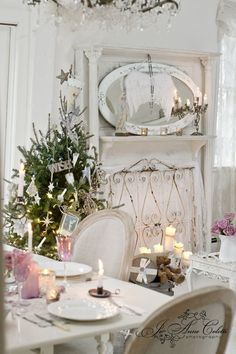 Shabby chic christmas no room for a big tree idea christmas dreaming of a white christmas - Old fashioned vintage bedroom design styles cozy cheerful vibe ...