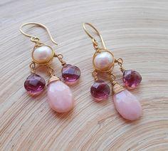 Mimi bridal gemstone chandelier earring blush pink white purple opal amethyst freshwater pearl wedding gift February October June birthstone