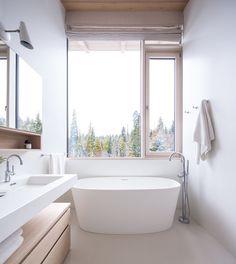 White and wood bathroom | Sophie Burke Design