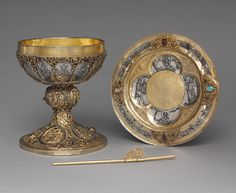 Liturgical Items: Chalice, Paten, and Straw, German, c. 1230 - 1250