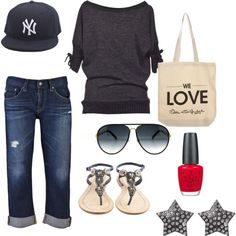 Weekend, created by on AG Adriano Goldschmied minus the NY hat Yankees Outfit, Yankees Hat, Casual Outfits, Cute Outfits, Red Sweaters, What To Wear, Street Style, My Style, Adriano Goldschmied