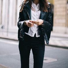 Leather jacket. Street fashion