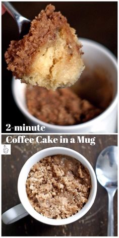 Keto Coffee Cake Mug Cake ready in 1 minute and made with low carb and sugar free ingredients! Fully on the inside, tender on the outside and topped with a streusel- Vegan, Paleo, Gluten Free. Coffe Mug Cake, Cake Mug, Keto Mug Cake, Cake In A Cup, Gluten Free Mug Cake, Microwave Chocolate Mug Cake, Mug Cake Microwave, Chocolate Mug Cakes, Microwave Sponge