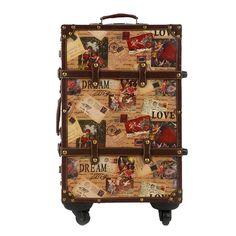 Women Vintage Design Stamp Pattern 20″ 24″ 26″ Inches High-quality Wear-resistant PU Travel Hardside Cabin Case