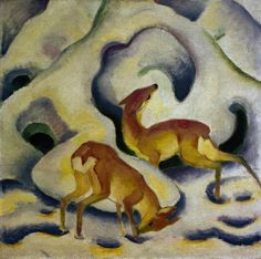 Deer in snow by Franz Marc