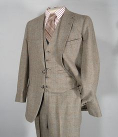 Vintage 1960s Mens Classic Heavyweight Wool Tan Plaid 3 Three Piece Suit - $175.00 - SOLD