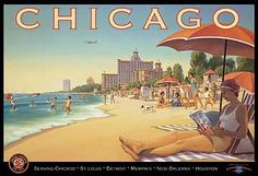 HUGE VINTAGE CHICAGO GIRL TRAVEL ART DECO POSTER , 1930's.