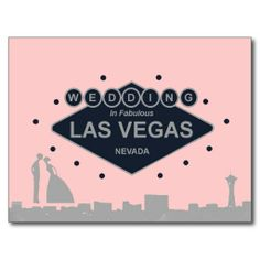 Wedding in Las Vegas with Silhouette Bride & Groom Postcard