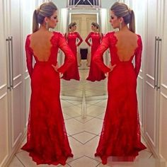 Wholesale 2015 Hot Prom Dresses - Buy BM Red Carpet 2015 Full Long Sleeve Lace Evening Dress With Bare Back Sexy A Line Scoop Neckline Women Elegant Modest Prom Dresses, $119.38 | DHgate