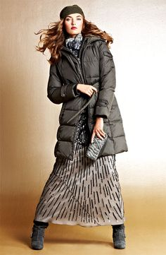 Sports Luxe: Ellen Tracy Quilted #Coat & JS Collections Chiffon Gown #Nordstrom