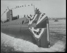 See the launch and test dives of Nautilus, the world's 1st nuclear submarine, in this collection of Pathé newsreels: http://www.britishpathe.com/workspaces/jhoyle/ntIyYou7