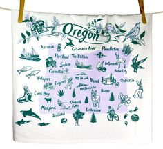 Tea Towel Oregon Green and Lavender on White Flour Sack by OLIOTTO