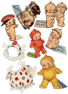 Use paper doll cut-outs as decorations for Harper's baby doll bday party Baby Kewpies 1939 Katy & Johnny Kewp Vintage Paper Dolls by mindfulresource on Etsy Vintage Paper Dolls, Vintage Toys, Vintage Ephemera, Vintage Cards, Paper Toys, Paper Crafts, Paper Dolls Printable, Collage Sheet, Vintage Children