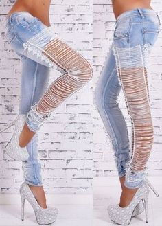 Stylish Low-Waisted Hollow Out Lace Spliced Women's Jeans - Mobile Stylish Jeans, Sexy Jeans, Ripped Jeans, Skinny Jeans, Fashion Casual, Denim Fashion, Look Fashion, Fashion Site, Lace Jeans