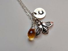 Bee charm necklace with personalized monogram, sterling silver, citrine gemstone,bee jewelry,honey bee charm,everyday, hand stamped  initial