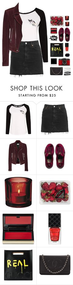 """""""send roses my way 💋 yeahbunny"""" by lanadelnotyou ❤ liked on Polyvore featuring Topshop, Balenciaga, Puma, iittala, FRUIT, Kevyn Aucoin, Gucci, LØMO, Chanel and Forever 21"""