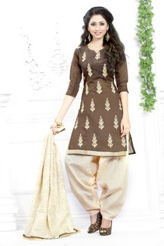 Buy Brown Chanderi Cotton Punjabi Suit 63559 online at lowest price from huge collection of salwar kameez at Indianclothstore.com.