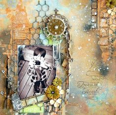 Mixed media layout-chicken wire, paper flowers, sprays