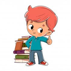 Boy with books giving the ok Kids Cartoon Characters, Cartoon Kids, Cute Cartoon, Art Drawings For Kids, Drawing For Kids, Easy Drawings, Clipart Boy, Note Doodles, Powerpoint Background Design
