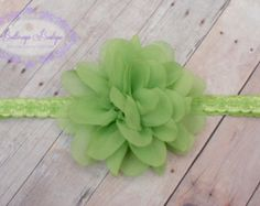 Items similar to Pink Green Headband, Lime Flower, Pink Flower, Elastic Headband, Flower Headband, Baby Headband, Photo Prop, Hair Accessory, Shabby Rose on Etsy