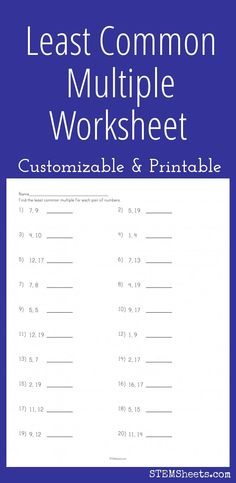 Best Least Common Multiple Images  Middle School Maths Math  Least Common Multiple Worksheet  Customizable And Printable Rounding  Decimals Worksheet Percents Least Common