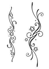 Vektor: Tattoo, Tribal, Sterne, stars, vector set, black & grey