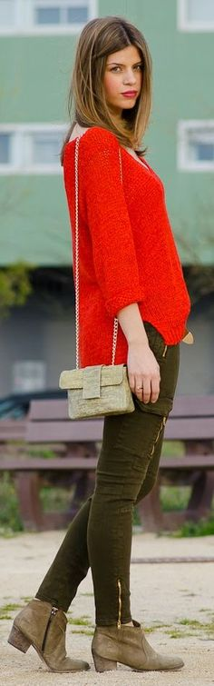 H&M Red V-Neck Knit Sweater by Ms Treinta