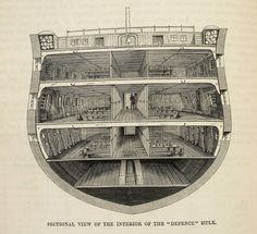 The hulks were decommissioned warships anchored in the mud off Woolwich. This is a cross-section of a hulk called the Defence, published in Henry Mayhew's The Criminal Prisons of London, in Victorian Prison, Victorian Era, Hulk, Van Diemen's Land, First Fleet, Aboriginal People, Old London, Royal Navy, British History