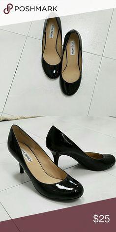 Steve Madden Black Patent Leather Shoes Black, round toe, leather upper, heeled pumps. Worn once. Steve Madden Shoes Heels
