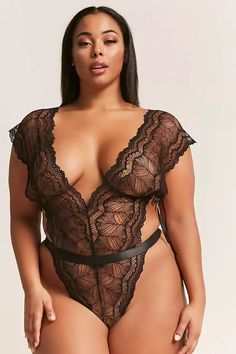 Product Name:Plus Size Oh La La Cheri Plunging Lace Teddy, Category:CLEARANCE_ZERO, Price:28