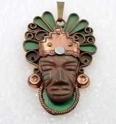 Large Aztec Face Pendant Vintage Mexico Copper by vintagegemz, $60.00