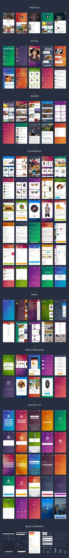 Chameleon is a modern mobile UI kit for Sketch and Photoshop. With 100 beautiful screens in 7 categories, 15 unique themes, 60 icons and hundreds of neatly organized components you can easily create design for your mobile app. Design Android, Ios App Design, Mobile Ui Design, Dashboard Design, Interface Web, Interface Design, Web Design, Flat Design, Icon Design