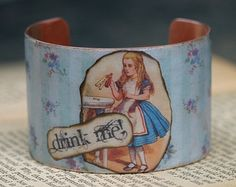 Alice in Wonderland Cuff Bracelet - Literary Jewelry - Book Quote Jewelry - Drink Me - Lewis Carroll - English Literature
