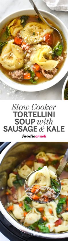 A clean, herb-infused broth makes this slow cooker soup made in my Instant Pot with sweet Italian sausage and cheese tortellini a tried and true favorite to keep in your weekly meal plans | foodiecrush.com #slowcooker #crockpot #instantpot #soup #sausage