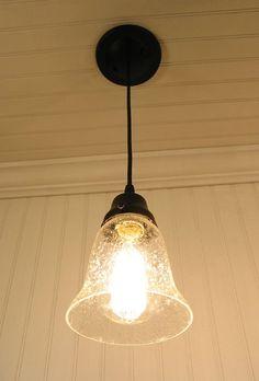 Kellie II. Glass Pendant Light of Seeded Glass - Mason Jar Light Fixture - The Lamp Goods - 3