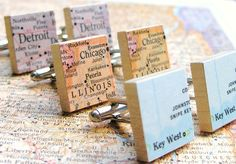 You Choose Map or Dictionary Scrabble Tile Cufflinks by dlkdesigns, $28.00