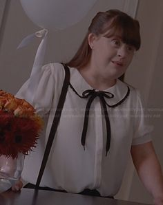 Nan's white and black bow blouse on AHS Coven
