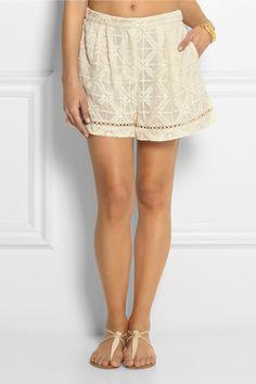 Zimmermann|Haze embroidered silk-georgette shorts|NET-A-PORTER.COM