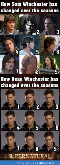 Sam and Dean through the seasons. Nine??